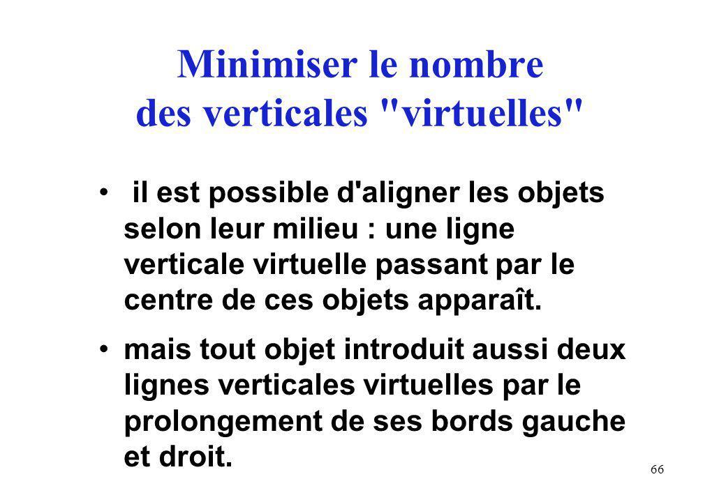 66 Minimiser le nombre des verticales virtuelles il est possible d aligner les objets selon leur milieu : une ligne verticale virtuelle passant par le centre de ces objets apparaît.