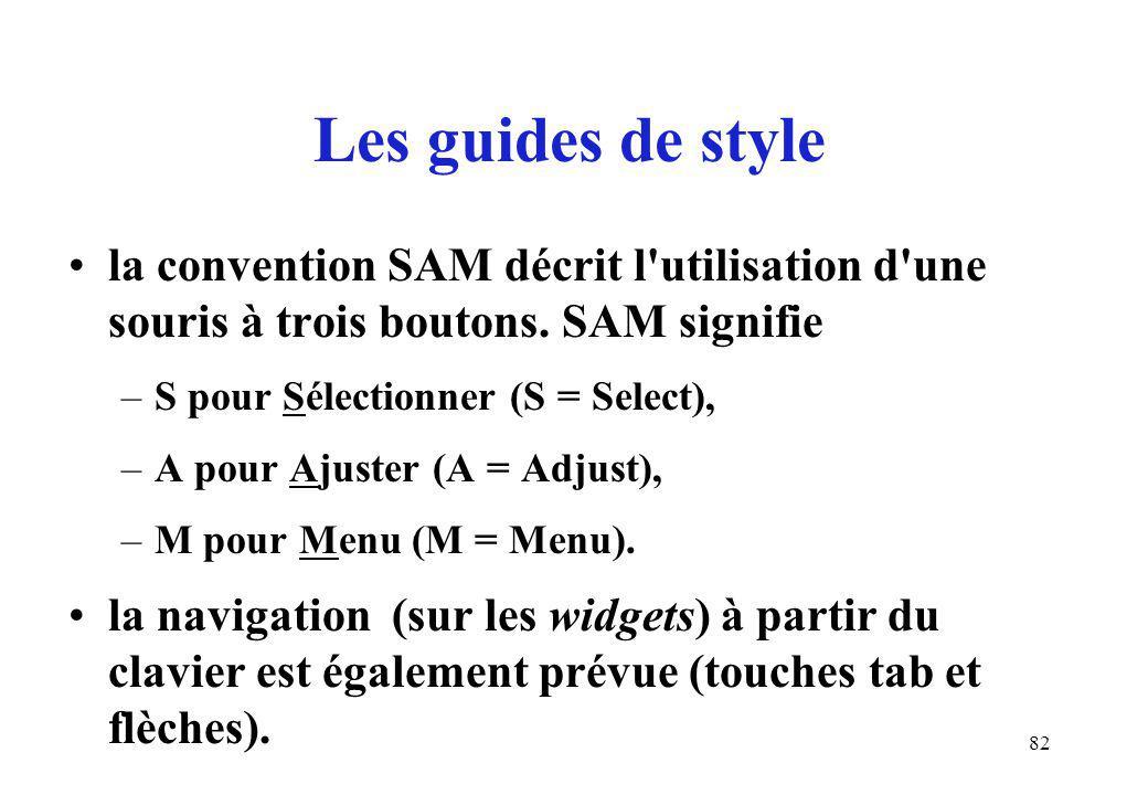 82 la convention SAM décrit l utilisation d une souris à trois boutons.