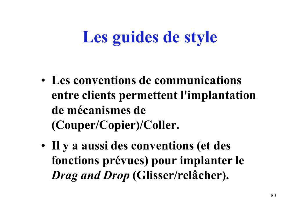 83 Les conventions de communications entre clients permettent l'implantation de mécanismes de (Couper/Copier)/Coller. Il y a aussi des conventions (et