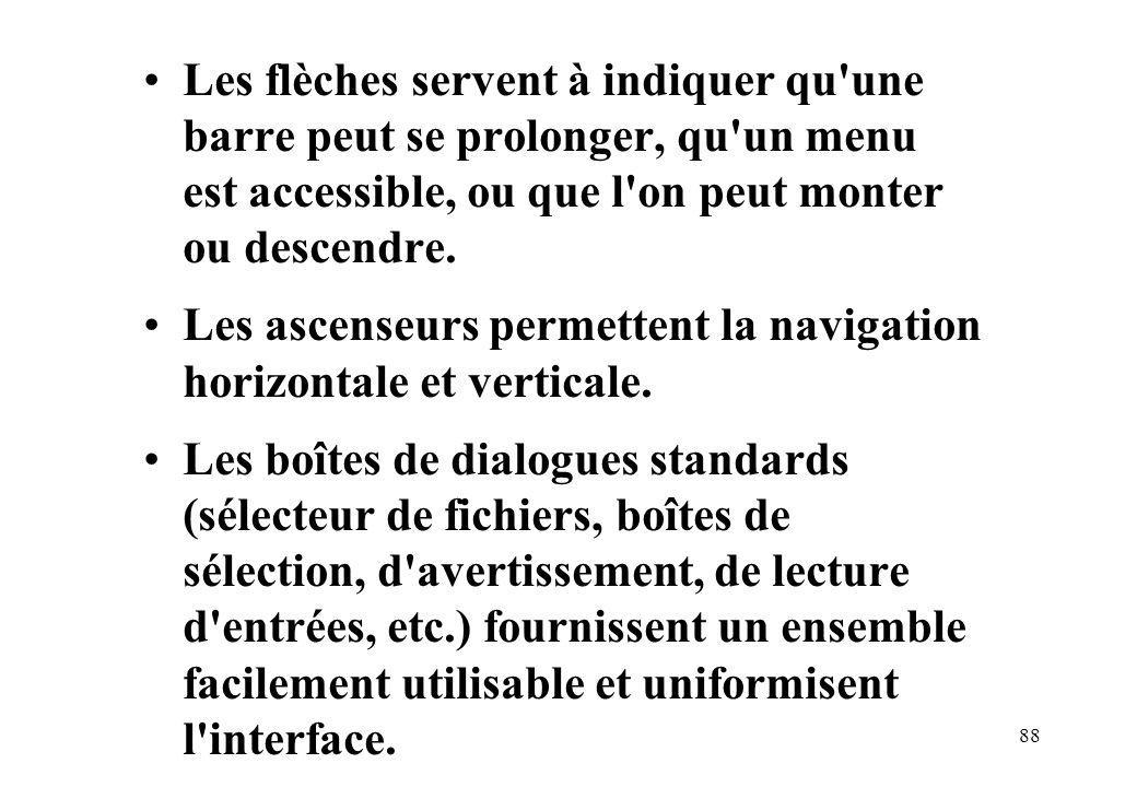 88 Les flèches servent à indiquer qu une barre peut se prolonger, qu un menu est accessible, ou que l on peut monter ou descendre.