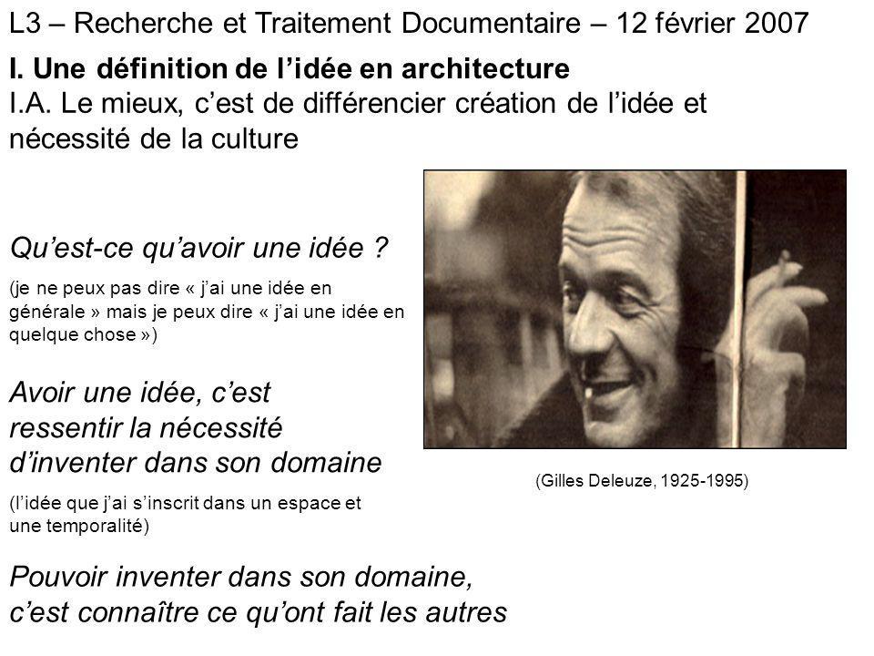 L3 – Recherche et traitement documentaires – 12 février 2007 I.