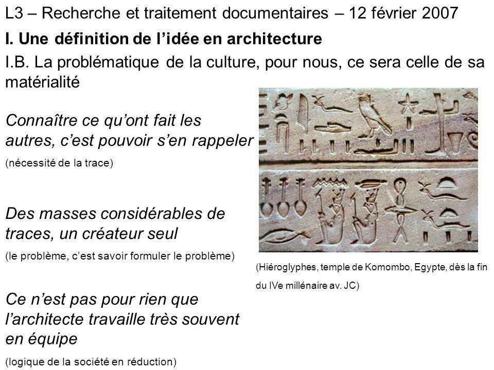 L3 – Recherche et traitement documentaires – 12 février 2007 II.