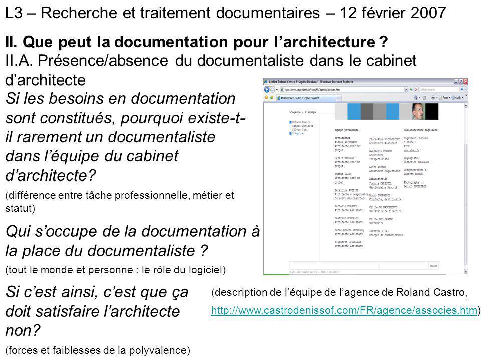 L3 – Recherche et traitement documentaires – 12 février 2007 III.
