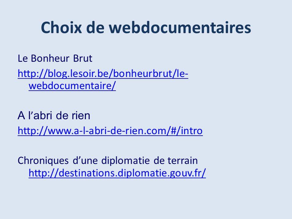 Le Bonheur Brut http://blog.lesoir.be/bonheurbrut/le- webdocumentaire/ A l abri de rien http://www.a-l-abri-de-rien.com/#/intro Chroniques dune diplomatie de terrain http://destinations.diplomatie.gouv.fr/ http://destinations.diplomatie.gouv.fr/