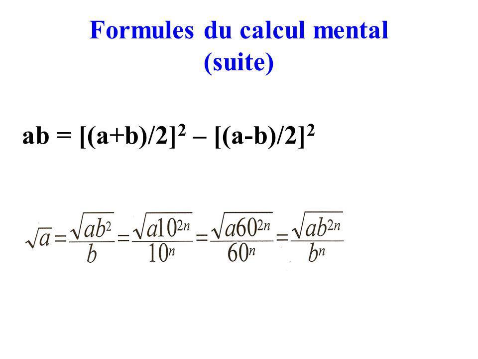 Formules du calcul mental (suite) ab = [(a+b)/2] 2 – [(a-b)/2] 2