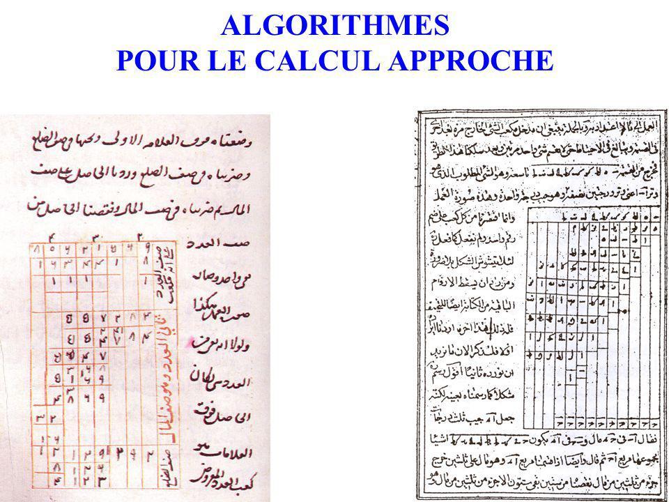 ALGORITHMES POUR LE CALCUL APPROCHE