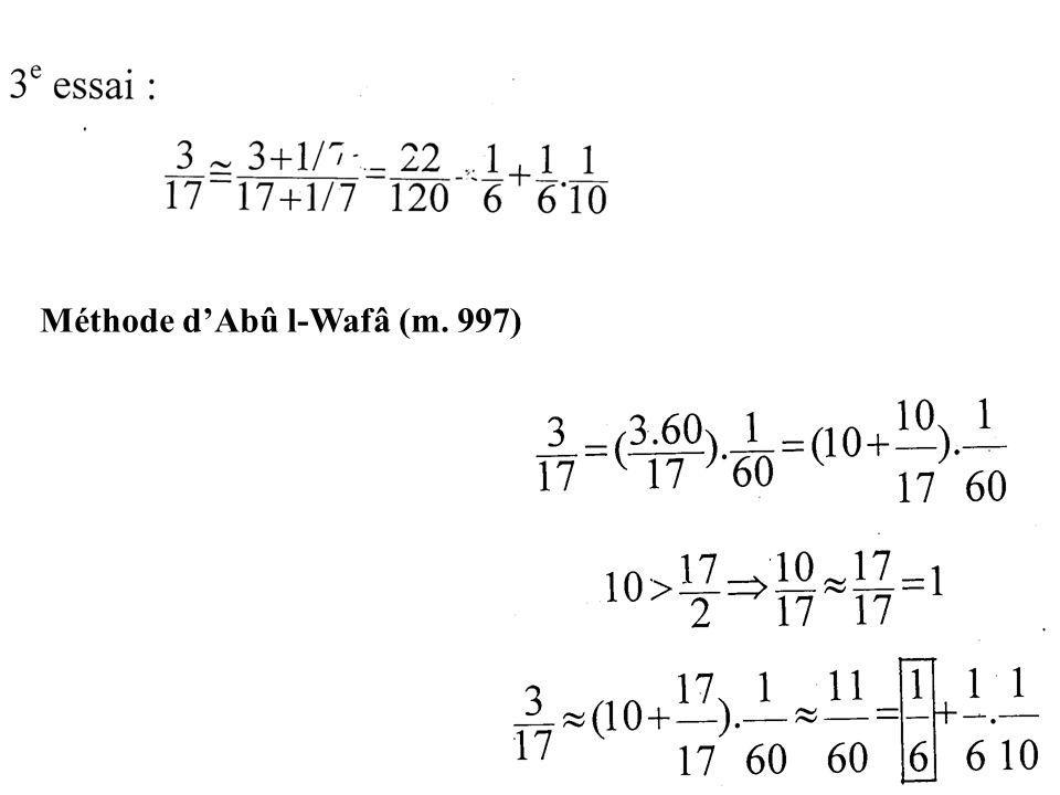 Méthode dAbû l-Wafâ (m. 997)