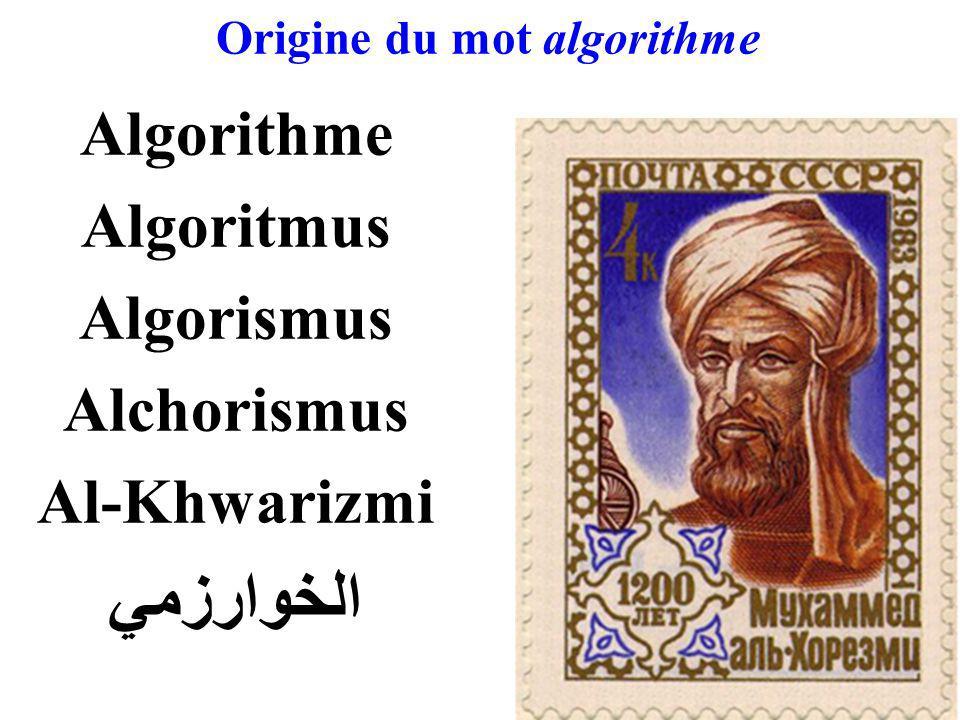 Origine du mot algorithme Algorithme Algoritmus Algorismus Alchorismus Al-Khwarizmi الخوارزمي