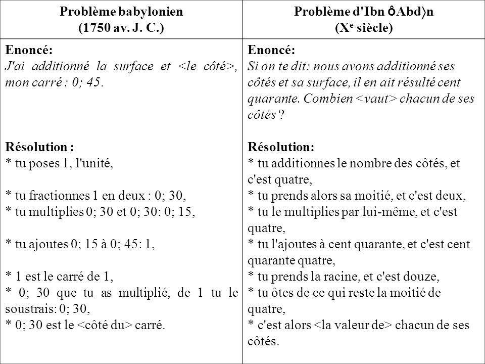 Problème babylonien (1750 av.J.