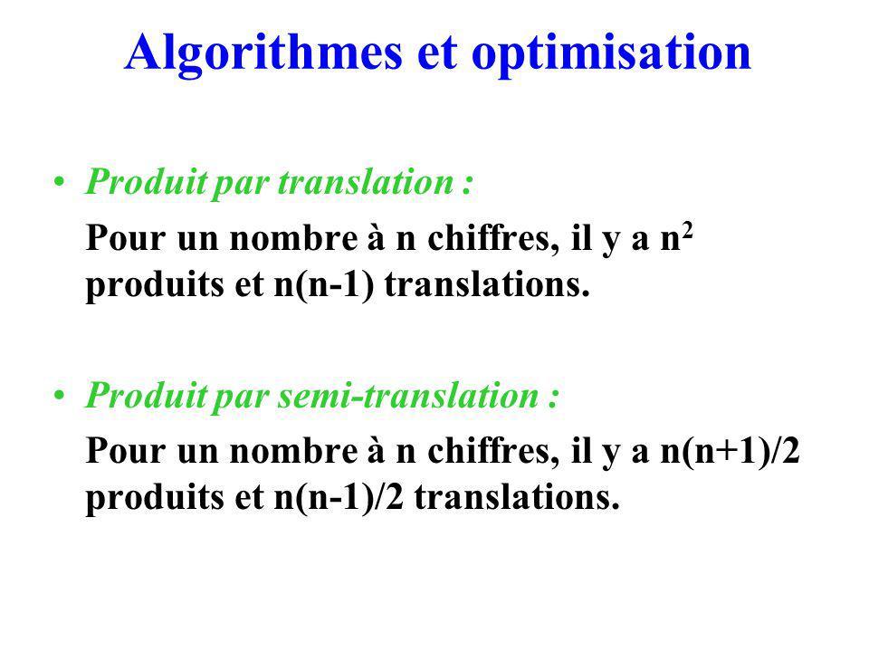 Algorithmes et optimisation Produit par translation : Pour un nombre à n chiffres, il y a n 2 produits et n(n-1) translations.