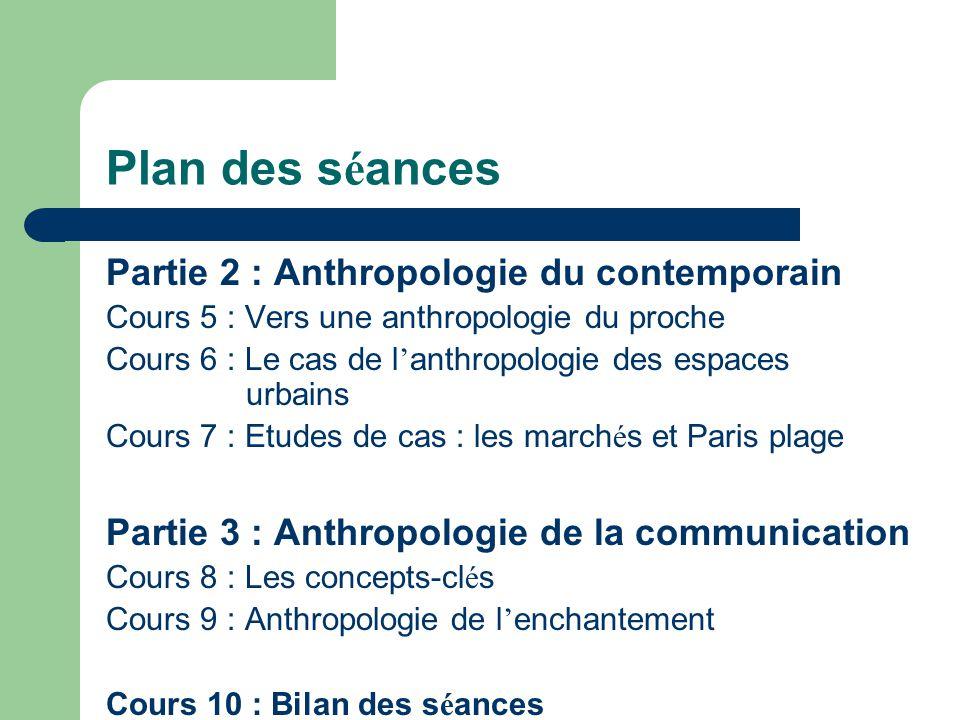 Plan des s é ances Partie 2 : Anthropologie du contemporain Cours 5 : Vers une anthropologie du proche Cours 6 : Le cas de l anthropologie des espaces