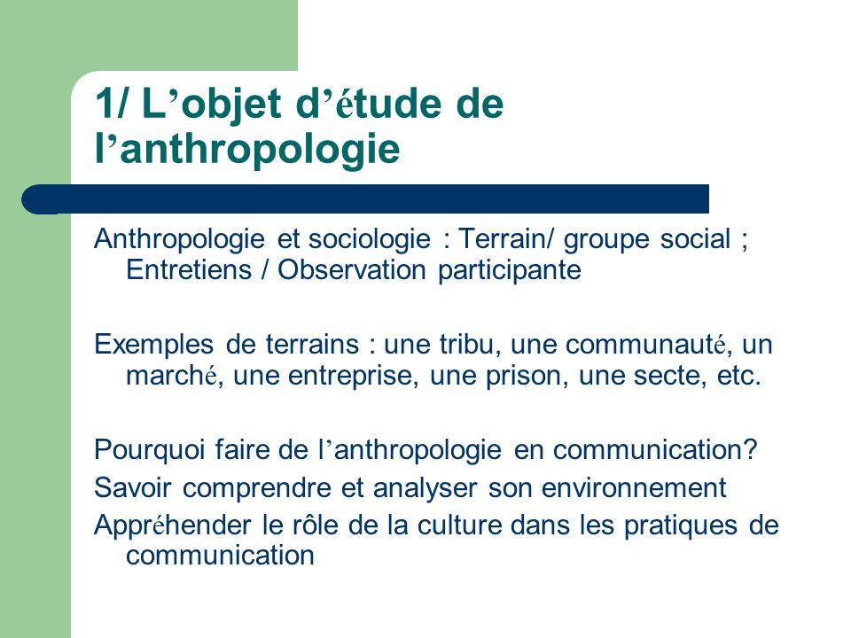 Ethnographie – Ethnologie – Anthropologie - Grec ethnos : groupe, peuple - Ethnographie : monographie d un terrain : la description des faits Le cin é ma ethnographique : http://www.youtube.com/watch?v=WCP9O2X8F8A http://www.youtube.com/watch?v=WCP9O2X8F8A - Ethnologie : Analyse et Interpr é tation d un terrain - Anthropologie : processus de g é n é ralisation, comparaisons entre plusieurs terrains - Des diff é rences entre les institutions et les orientations m é thodologiques - L affichage administratif officiel des cursus : anthropologie