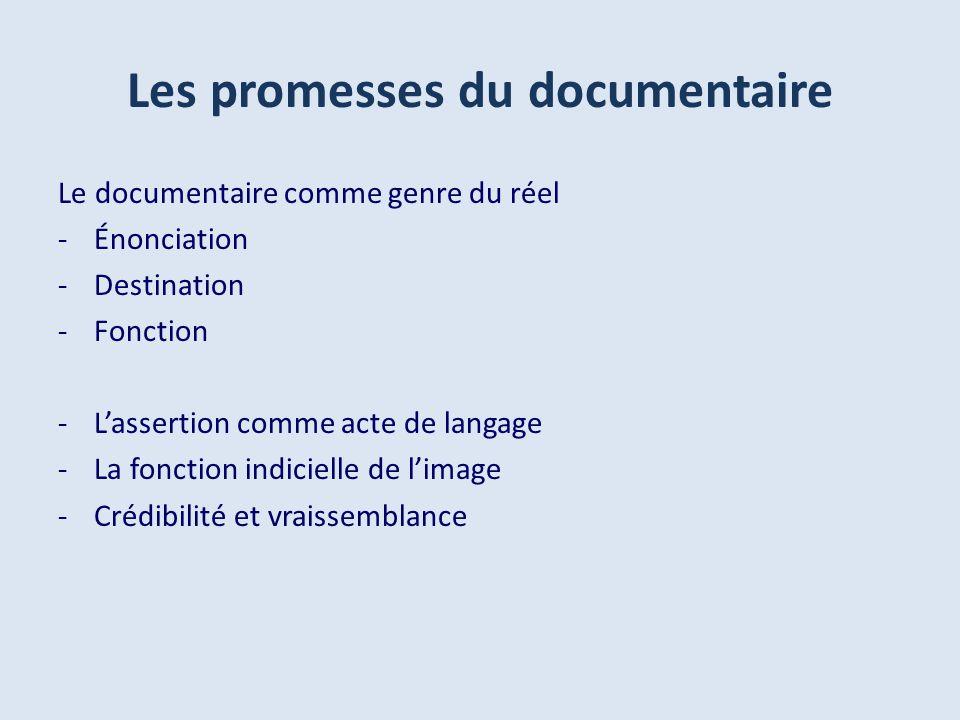 Les promesses du documentaire Le documentaire comme genre du réel -Énonciation -Destination -Fonction -Lassertion comme acte de langage -La fonction indicielle de limage -Crédibilité et vraissemblance