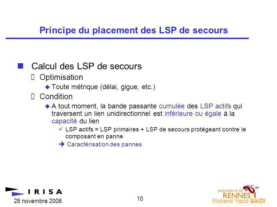 28 novembre 2008Mohand Yazid SAIDI 10 nCalcul des LSP de secours Optimisation Toute métrique (délai, gigue, etc.) Condition A tout moment, la bande passante cumulée des LSP actifs qui traversent un lien unidirectionnel est inférieure ou égale à la capacité du lien üLSP actifs = LSP primaires + LSP de secours protégeant contre le composant en panne Caractérisation des pannes Principe du placement des LSP de secours