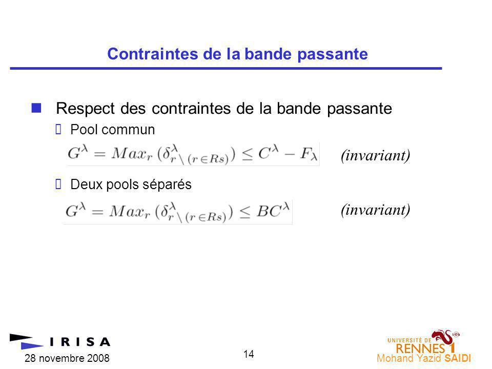 28 novembre 2008Mohand Yazid SAIDI 14 nRespect des contraintes de la bande passante Pool commun Deux pools séparés Contraintes de la bande passante (invariant)