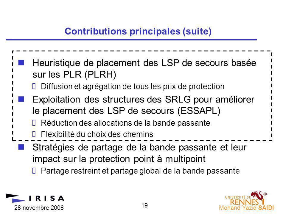 28 novembre 2008Mohand Yazid SAIDI 19 nHeuristique de placement des LSP de secours basée sur les PLR (PLRH) Diffusion et agrégation de tous les prix d
