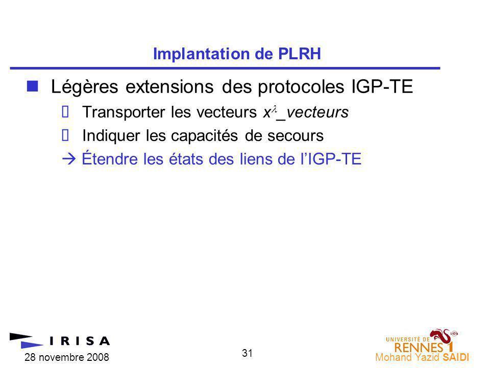 28 novembre 2008Mohand Yazid SAIDI 31 nLégères extensions des protocoles IGP-TE Transporter les vecteurs x _vecteurs Indiquer les capacités de secours Étendre les états des liens de lIGP-TE Implantation de PLRH