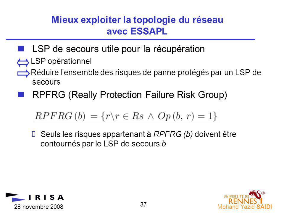 28 novembre 2008Mohand Yazid SAIDI 37 nLSP de secours utile pour la récupération LSP opérationnel Réduire lensemble des risques de panne protégés par un LSP de secours nRPFRG (Really Protection Failure Risk Group) Seuls les risques appartenant à RPFRG (b) doivent être contournés par le LSP de secours b Mieux exploiter la topologie du réseau avec ESSAPL