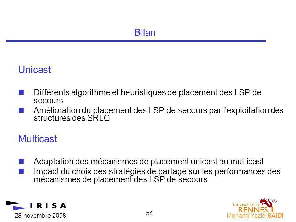 28 novembre 2008Mohand Yazid SAIDI 54 Unicast nDifférents algorithme et heuristiques de placement des LSP de secours nAmélioration du placement des LS