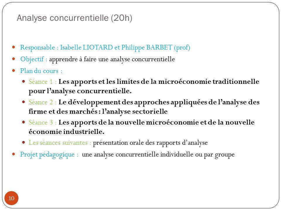 Analyse concurrentielle (20h) Responsable : Isabelle LIOTARD et Philippe BARBET (prof) Objectif : apprendre à faire une analyse concurrentielle Plan du cours : Séance 1 : Les apports et les limites de la microéconomie traditionnelle pour lanalyse concurrentielle.