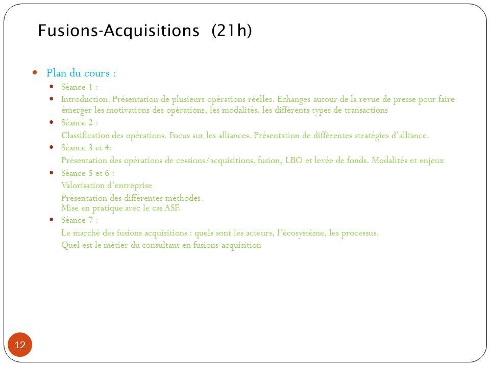 Plan du cours : Séance 1 : Introduction. Présentation de plusieurs opérations réelles. Echanges autour de la revue de presse pour faire émerger les mo