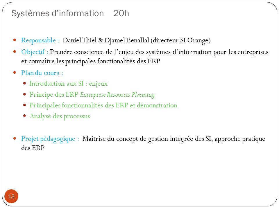 Systèmes dinformation 20h Responsable : Daniel Thiel & Djamel Benallal (directeur SI Orange) Objectif : Prendre conscience de lenjeu des systèmes dinf