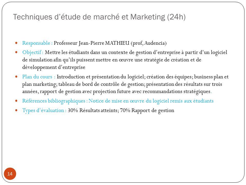 Techniques détude de marché et Marketing (24h) Responsable : Professeur Jean-Pierre MATHIEU (prof, Audencia) Objectif : Mettre les étudiants dans un c