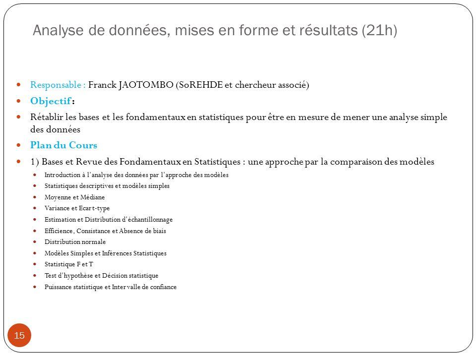 Analyse de données, mises en forme et résultats (21h) Responsable : Franck JAOTOMBO (SoREHDE et chercheur associé) Objectif : Rétablir les bases et le