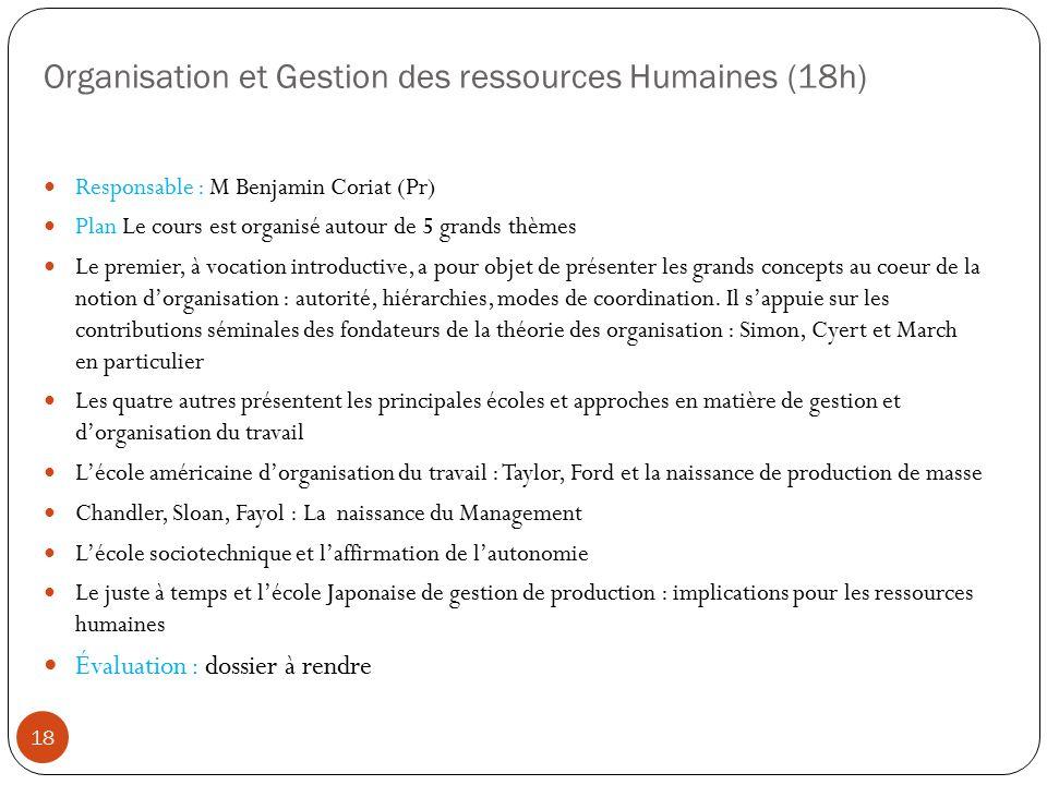 Organisation et Gestion des ressources Humaines (18h) Responsable : M Benjamin Coriat (Pr) Plan Le cours est organisé autour de 5 grands thèmes Le pre