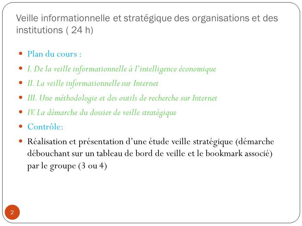 Veille informationnelle et stratégique des organisations et des institutions ( 24 h) Plan du cours : I. De la veille informationnelle à lintelligence