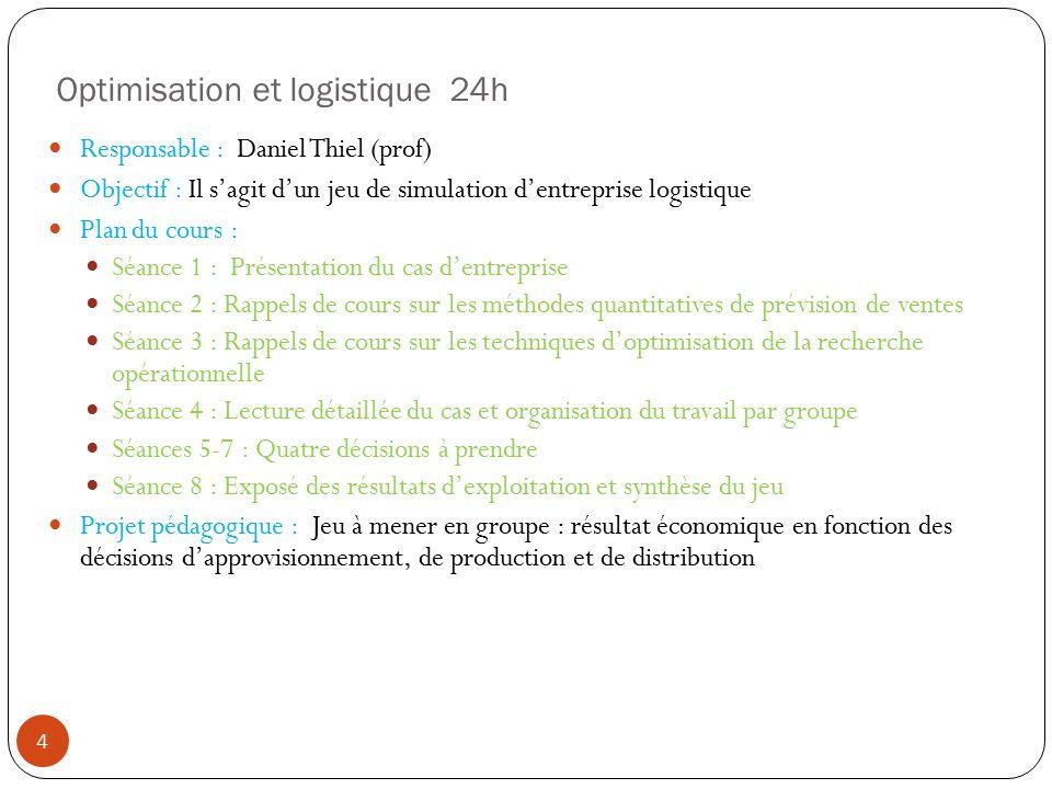 Optimisation et logistique 24h Responsable : Daniel Thiel (prof) Objectif : Il sagit dun jeu de simulation dentreprise logistique Plan du cours : Séan