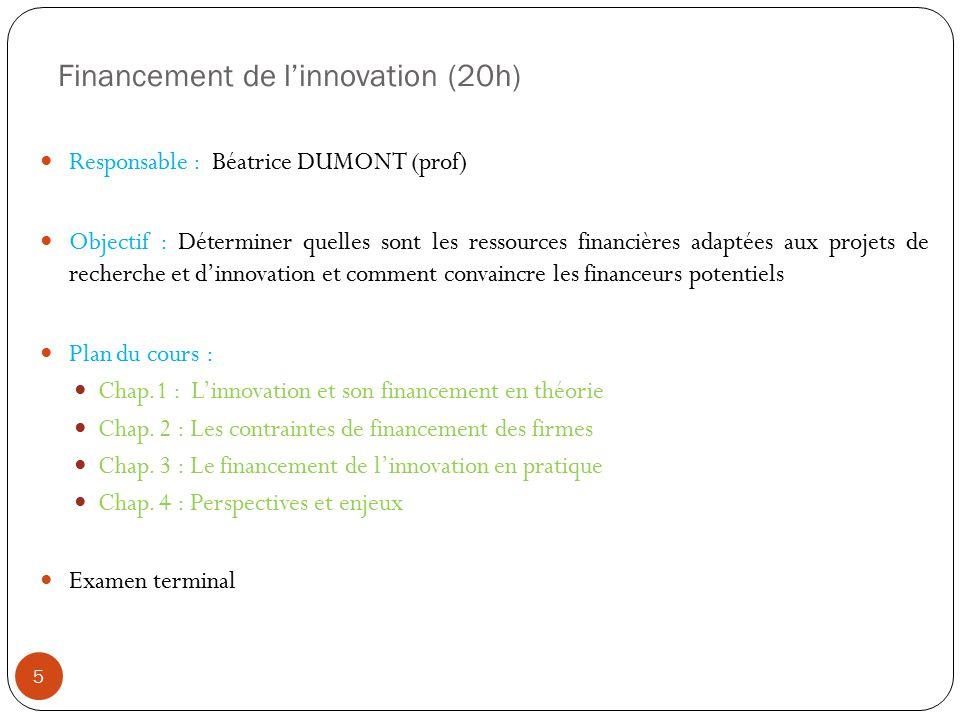 Financement de linnovation (20h) Responsable : Béatrice DUMONT (prof) Objectif : Déterminer quelles sont les ressources financières adaptées aux proje