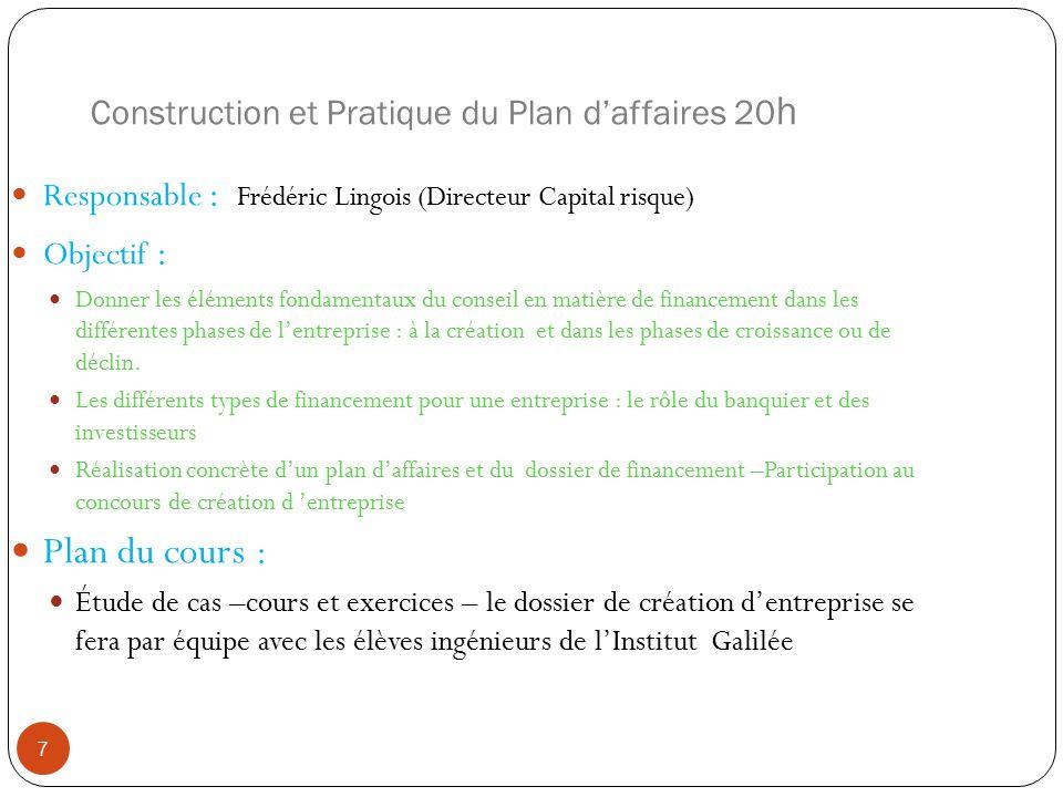 Construction et Pratique du Plan daffaires 20 h Responsable : Frédéric Lingois (Directeur Capital risque) Objectif : Donner les éléments fondamentaux du conseil en matière de financement dans les différentes phases de lentreprise : à la création et dans les phases de croissance ou de déclin.