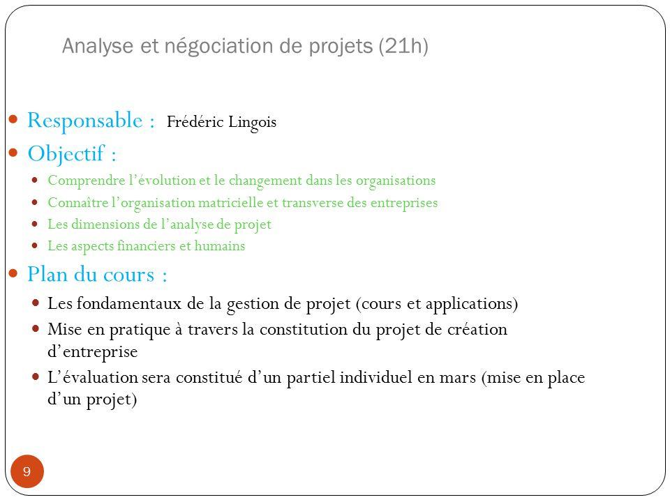 Analyse et négociation de projets (21h) Responsable : Frédéric Lingois Objectif : Comprendre lévolution et le changement dans les organisations Connaî