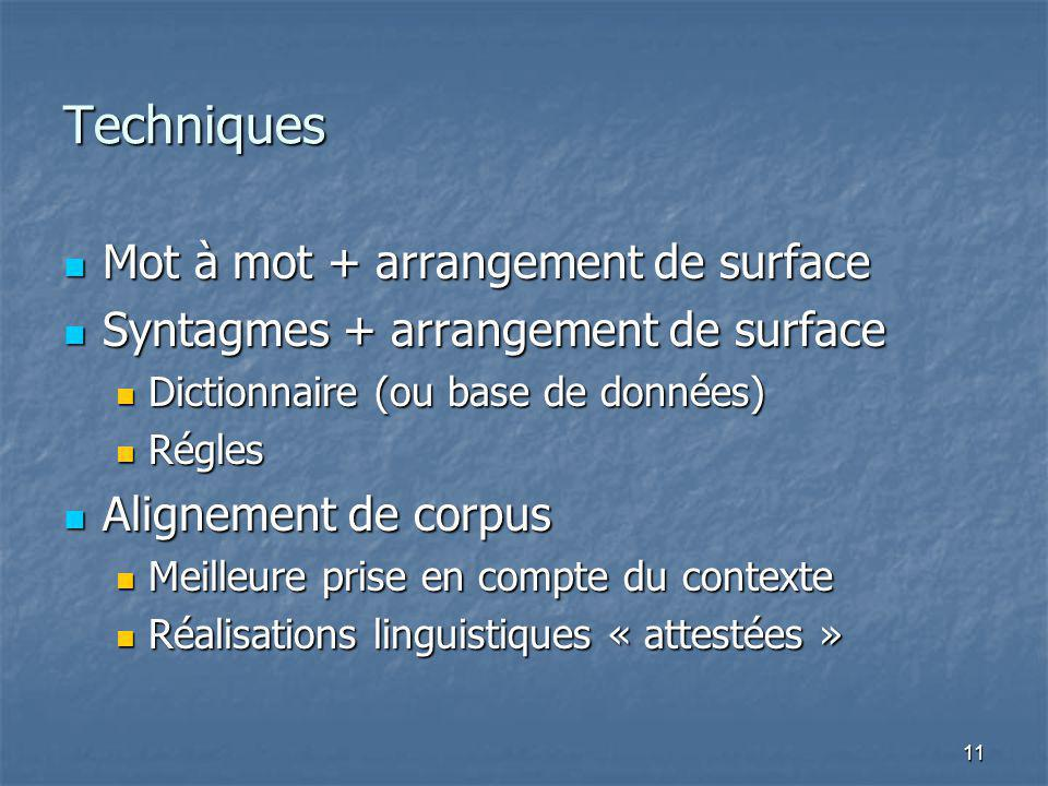 11 Techniques Mot à mot + arrangement de surface Mot à mot + arrangement de surface Syntagmes + arrangement de surface Syntagmes + arrangement de surf