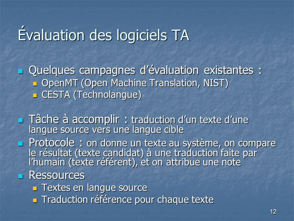 12 Évaluation des logiciels TA Quelques campagnes dévaluation existantes : Quelques campagnes dévaluation existantes : OpenMT (Open Machine Translation, NIST) OpenMT (Open Machine Translation, NIST) CESTA (Technolangue) CESTA (Technolangue) Tâche à accomplir : traduction dun texte dune langue source vers une langue cible Tâche à accomplir : traduction dun texte dune langue source vers une langue cible Protocole : on donne un texte au système, on compare le résultat (texte candidat) à une traduction faite par lhumain (texte référent), et on attribue une note Protocole : on donne un texte au système, on compare le résultat (texte candidat) à une traduction faite par lhumain (texte référent), et on attribue une note Ressources Ressources Textes en langue source Textes en langue source Traduction référence pour chaque texte Traduction référence pour chaque texte
