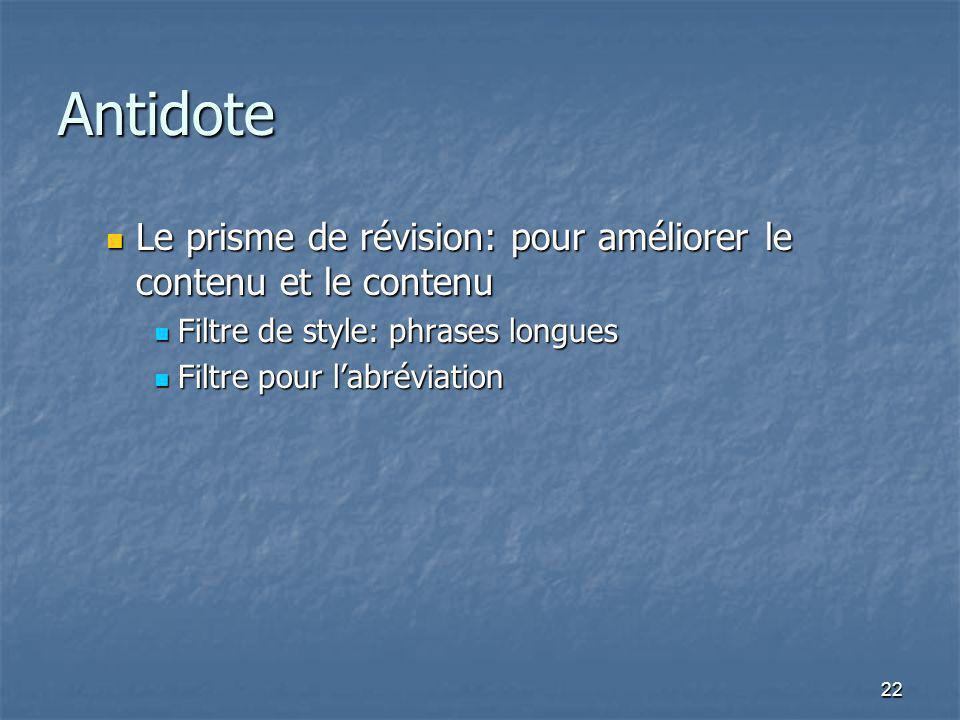 22 Antidote Le prisme de révision: pour améliorer le contenu et le contenu Le prisme de révision: pour améliorer le contenu et le contenu Filtre de st