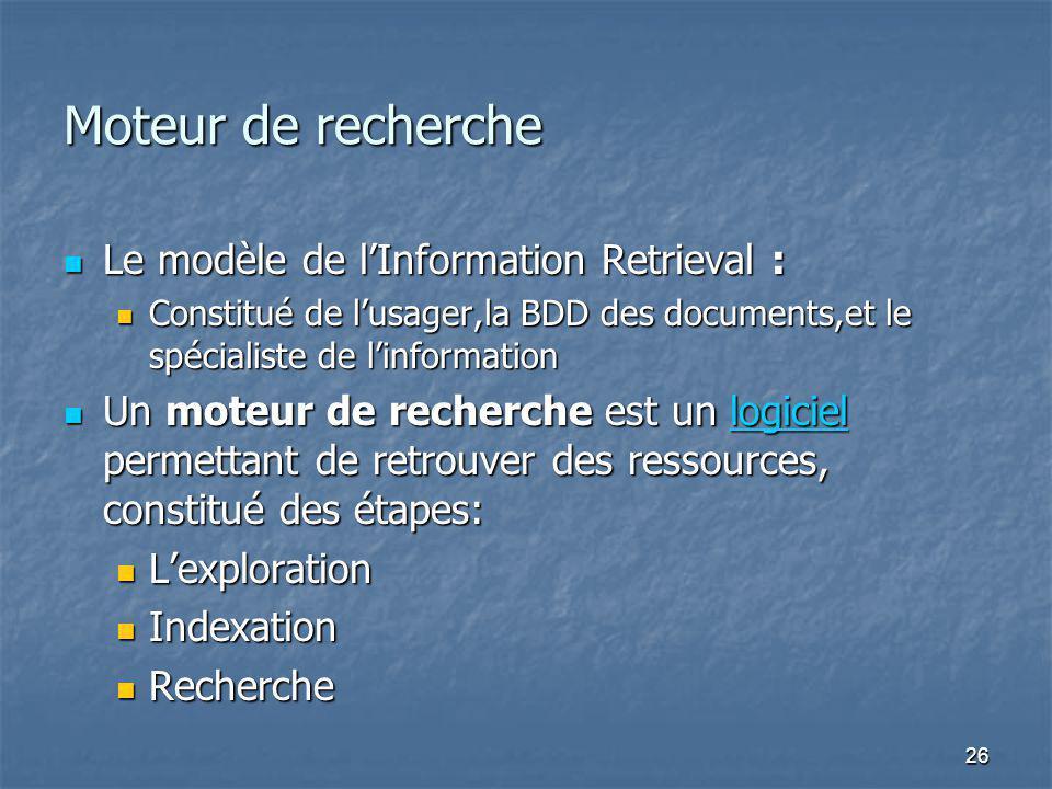 26 Moteur de recherche Le modèle de lInformation Retrieval : Le modèle de lInformation Retrieval : Constitué de lusager,la BDD des documents,et le spécialiste de linformation Constitué de lusager,la BDD des documents,et le spécialiste de linformation Un moteur de recherche est un logiciel permettant de retrouver des ressources, constitué des étapes: Un moteur de recherche est un logiciel permettant de retrouver des ressources, constitué des étapes:logiciel Lexploration Lexploration Indexation Indexation Recherche Recherche