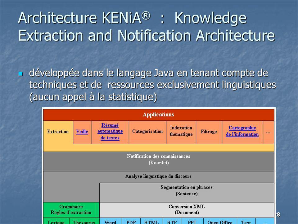Architecture KENiA ® : Knowledge Extraction and Notification Architecture développée dans le langage Java en tenant compte de techniques et de ressources exclusivement linguistiques (aucun appel à la statistique) développée dans le langage Java en tenant compte de techniques et de ressources exclusivement linguistiques (aucun appel à la statistique) 28