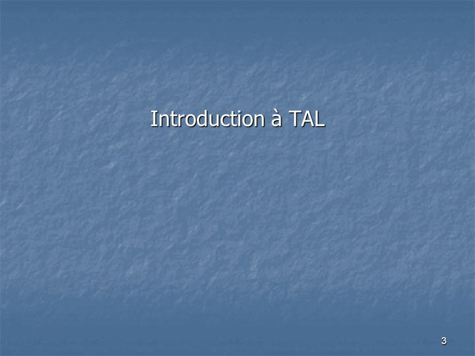 3 Introduction à TAL