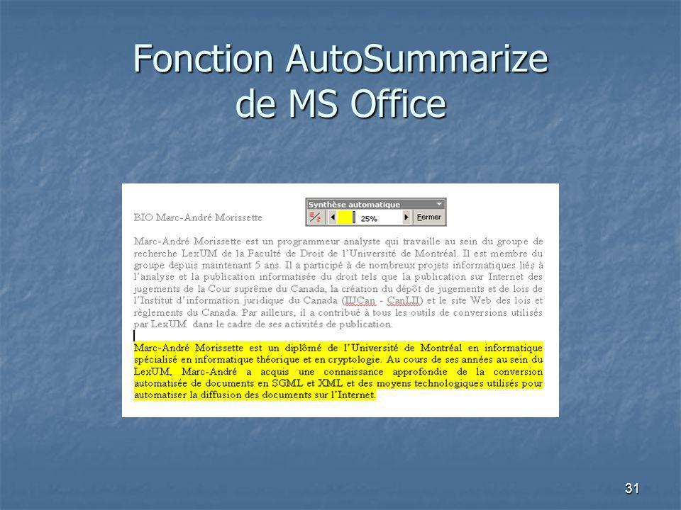31 Fonction AutoSummarize de MS Office