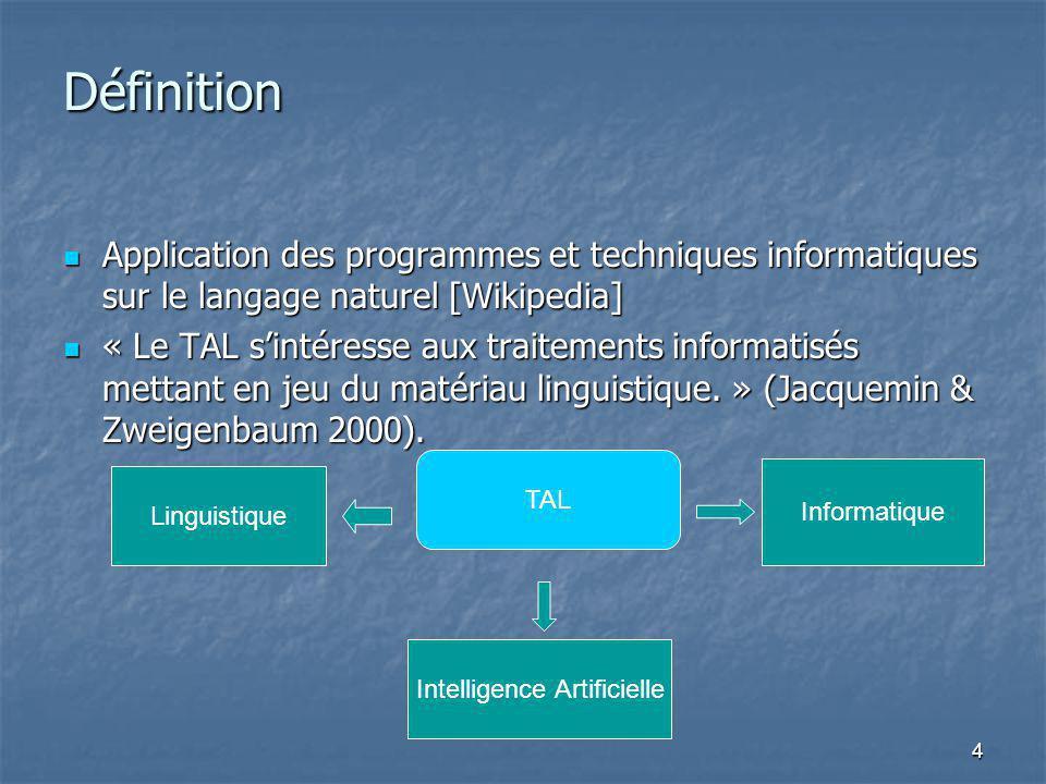 4 Définition Application des programmes et techniques informatiques sur le langage naturel [Wikipedia] Application des programmes et techniques inform