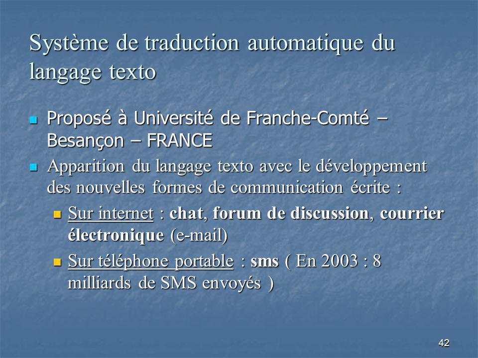 42 Système de traduction automatique du langage texto Proposé à Université de Franche-Comté – Besançon – FRANCE Proposé à Université de Franche-Comté