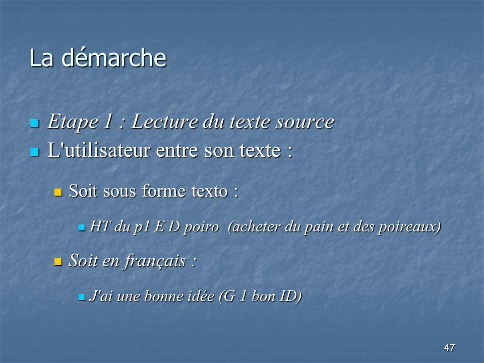 47 La démarche Etape 1 : Lecture du texte source Etape 1 : Lecture du texte source L utilisateur entre son texte : L utilisateur entre son texte : Soit sous forme texto : Soit sous forme texto : HT du p1 E D poiro (acheter du pain et des poireaux) HT du p1 E D poiro (acheter du pain et des poireaux) Soit en français : Soit en français : J ai une bonne idée (G 1 bon ID) J ai une bonne idée (G 1 bon ID)