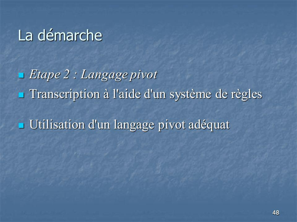 48 La démarche Etape 2 : Langage pivot Etape 2 : Langage pivot Transcription à l aide d un système de règles Transcription à l aide d un système de règles Utilisation d un langage pivot adéquat Utilisation d un langage pivot adéquat