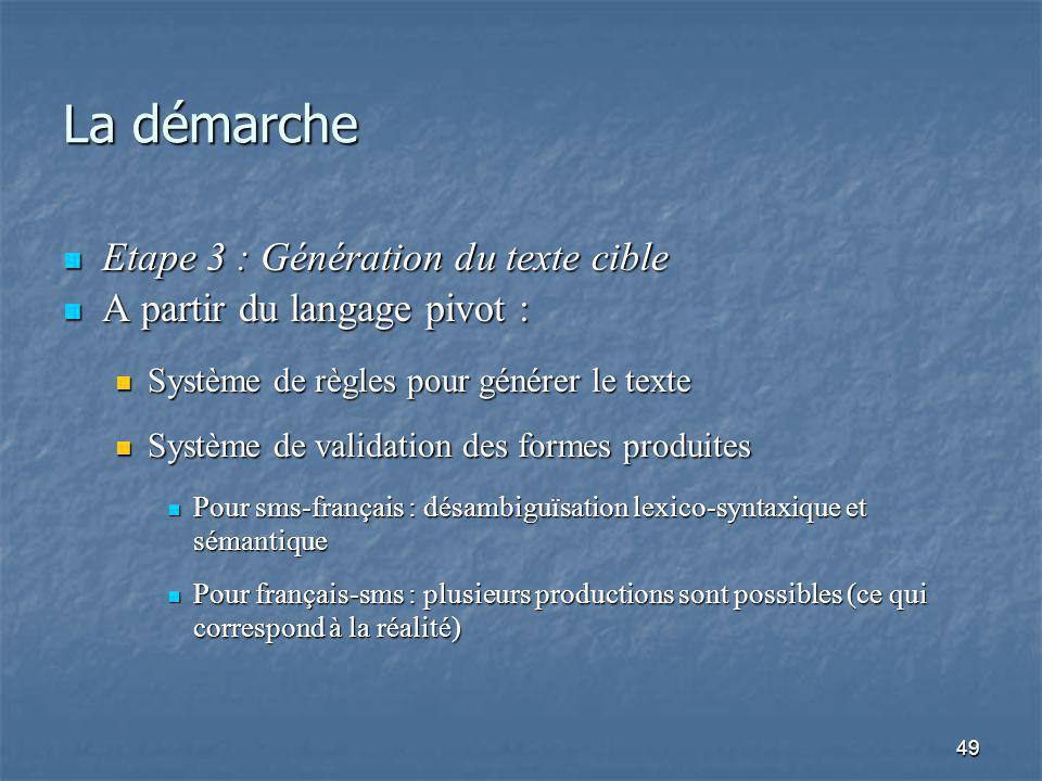 49 La démarche Etape 3 : Génération du texte cible Etape 3 : Génération du texte cible A partir du langage pivot : A partir du langage pivot : Système