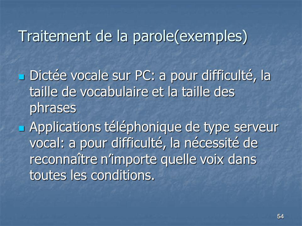 54 Traitement de la parole(exemples) Dictée vocale sur PC: a pour difficulté, la taille de vocabulaire et la taille des phrases Dictée vocale sur PC: