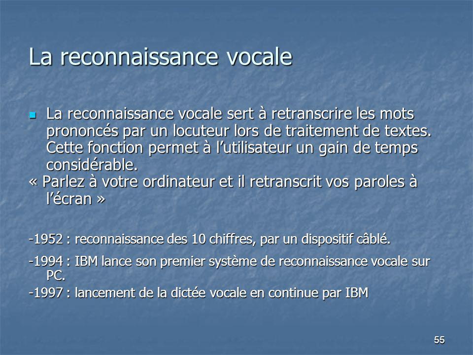 55 La reconnaissance vocale La reconnaissance vocale sert à retranscrire les mots prononcés par un locuteur lors de traitement de textes. Cette foncti