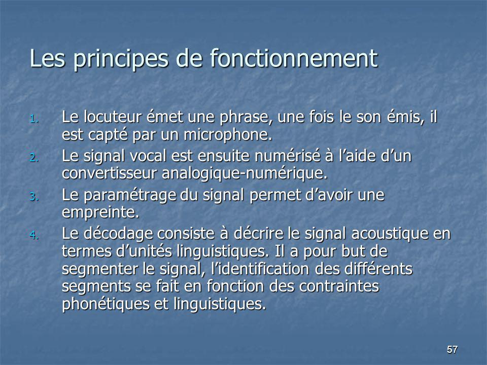 57 Les principes de fonctionnement 1. Le locuteur émet une phrase, une fois le son émis, il est capté par un microphone. 2. Le signal vocal est ensuit
