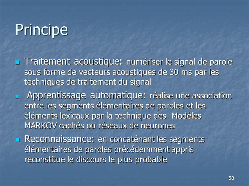 58 Principe Traitement acoustique: numériser le signal de parole sous forme de vecteurs acoustiques de 30 ms par les techniques de traitement du signa